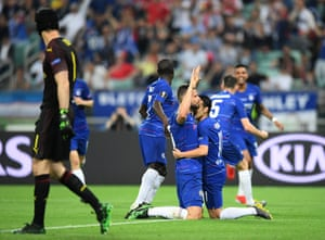 Olivier Giroud of Chelsea celebrates after scoring his team's first goal with his teammates.