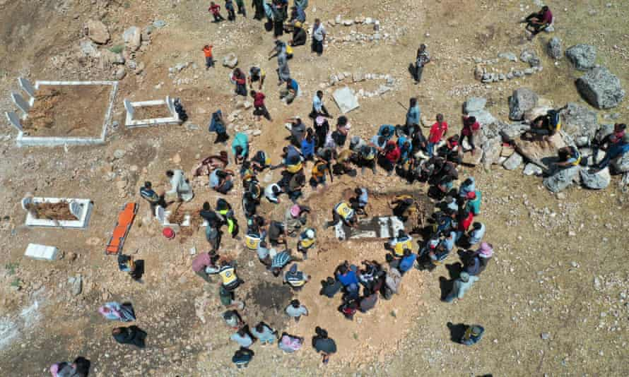 Funeral of a White Helmets member, reported killed after a missiles attack on the group's centre in Qastoun
