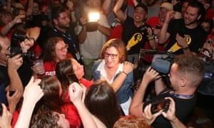Ged Kearney (centre) celebrates her federal byelection win in Melbourne. She won a two party-preferred swing of over 3% to Labor.