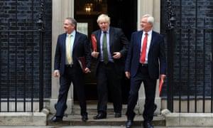 Liam Fox, Boris Johnson and David Davis, Theresa May's Brexit ministers