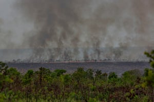 A fire burns in the Cerrado, Brazil, one of the world's oldest and most diverse tropical ecosystems and one of the most endangered on the planet