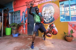 The Kenyan boxer and lawyer Shadrack Wambui. He trains young boxers and offers free legal advice in the Mathare slums