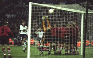 Alan Shearer blasts the ball in the net at Wembley in 1997 during a World Cup qualifier between England and Georgia.