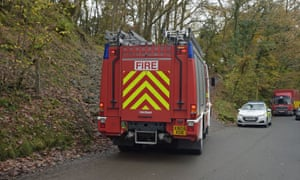 A fire engine at the scene of the fire in Llangammarch Wells, Powys.