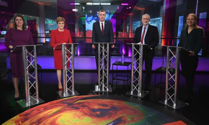Political leaders taking part in the climate debate on Channel 4