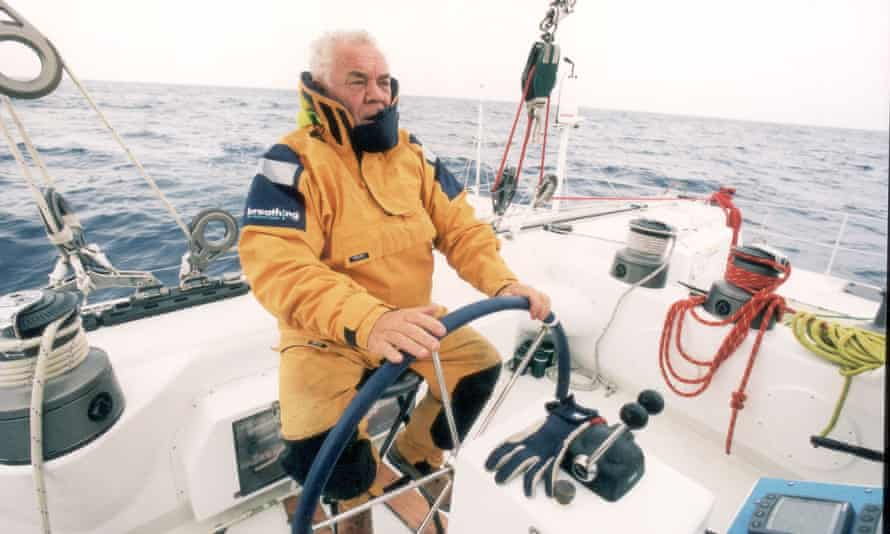 Tony Bullimore at the helm of Team Legato during The Race in 2001.