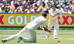 Steve Smith (right) of Australia bats on day one of the Boxing Day Test match between Australia and New Zealand at the MCG in Melbourne on Thursday. A new report says in the future the Test may need to be played at night or in the shoulder season to escape extreme heat.
