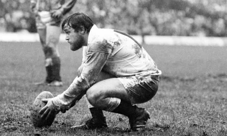 Alastair Hignell lines up a kick during the match between England and Wales in 1978. Twickenham was a tricky venue for place-kickers in those days.