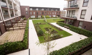 The garden and play area that social housing residents are not allowed to use.