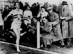 6 May 1954Bannister hits the tape to run the world's first sub four minute mile.