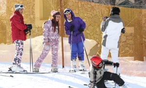 Skiers at Shemshak ski resort in northern Tehran