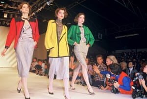 Models take to the runway for the spring/summer Givenchy collection fashion 1984.