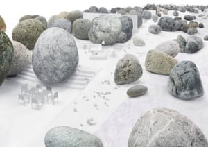 Nature amplified … 8 Villas in Dali, a proposal by Junya Ishigami, uses existing boulders as roof pillars.