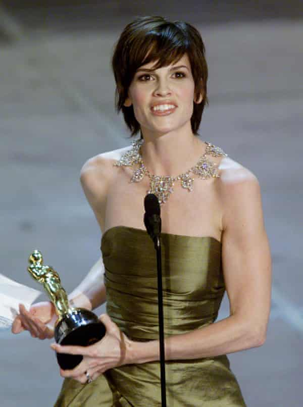Hillary Swank winning the best actress Oscar in 2000.