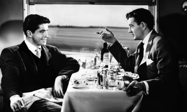 Farley Granger  (left) and Robert Walker in the 1951 film version of Strangers on a Train.