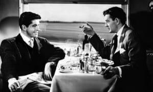 Farley Granger  (left) and Robert Walker in the 1951 film version of Strangers on a Train.