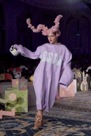Maddie Mills walks the catwalk for Vin and Omi during London fashion week 2020
