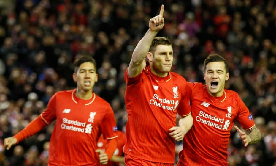 James Milner celebrates scoring for Liverpool against Augsburg