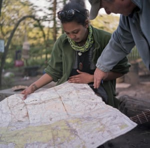 Keleigh looks over a map of Yorkley Court in the Forest of Dean, a similar community that's also fighting imminent eviction. The Diggers will routinely organize group trips to other eco villages, either to learn new skills or to show support when other communities are threatened
