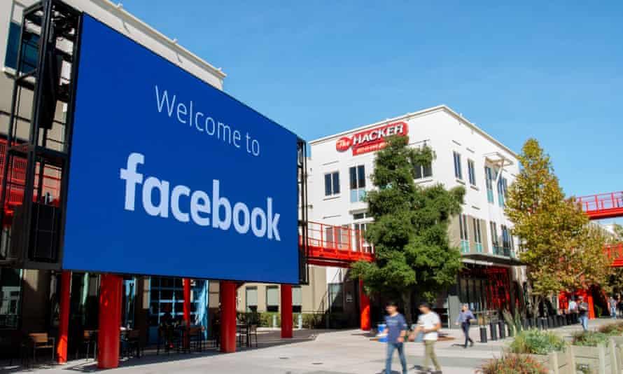 Facebook's corporate headquarters campus in Menlo Park, California.