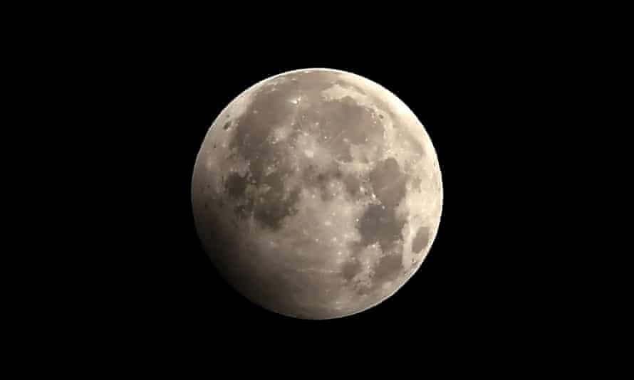 The penumbral lunar eclipse on 11 January, 2020, seen from Kathmandu.