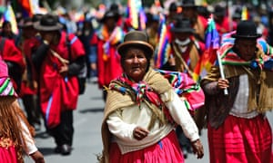 Indigenous people, supporters of Bolivian ex-President Evo Morales, protest against the interim government in La Paz on Friday.