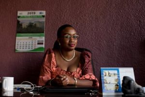 Gloria Mwenge Bitomwa, park official for Kahuzi-Biéga, in her office in Bukavu