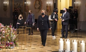 German Chancellor Angela Merkel arrives at a memorial event at the Konzerthaus concert hall in Berlin, Germany, Sunday, April 18, 2021 in remembrance of Germany's coronavirus dead.