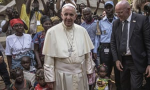Pope Francis visits an internally displaced people camp in Bangui.
