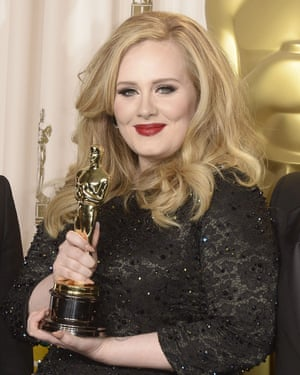 Adele with her Oscar for the theme song to the James Bond film Skyfall.
