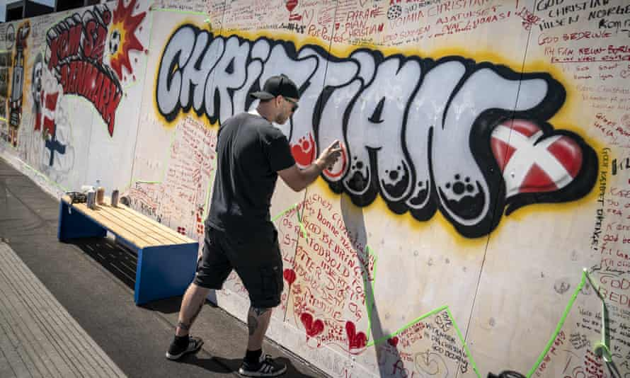 Messages to Christian Eriksen on a wall at Football Village in Copenhagen.
