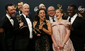 The cast and crew of Veep at the 2016 Emmys.