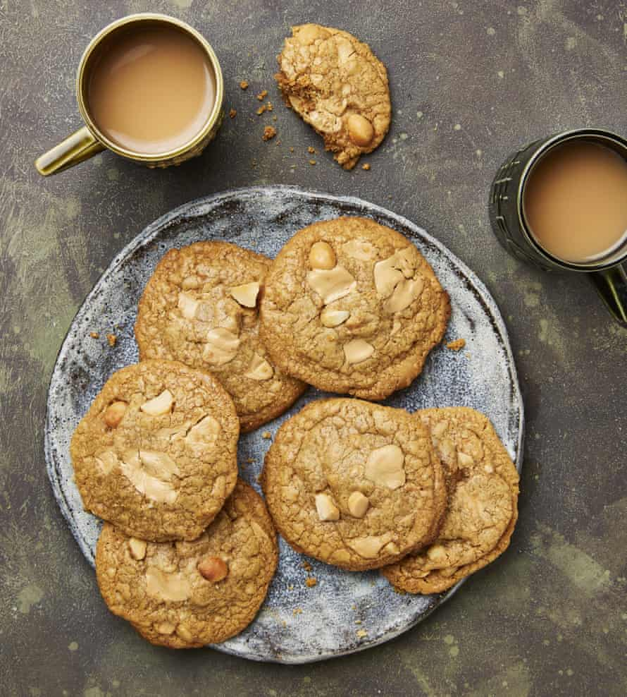 Yotam Ottolenghi's gluten-free caramelised white chocolate and macadamia cookies.