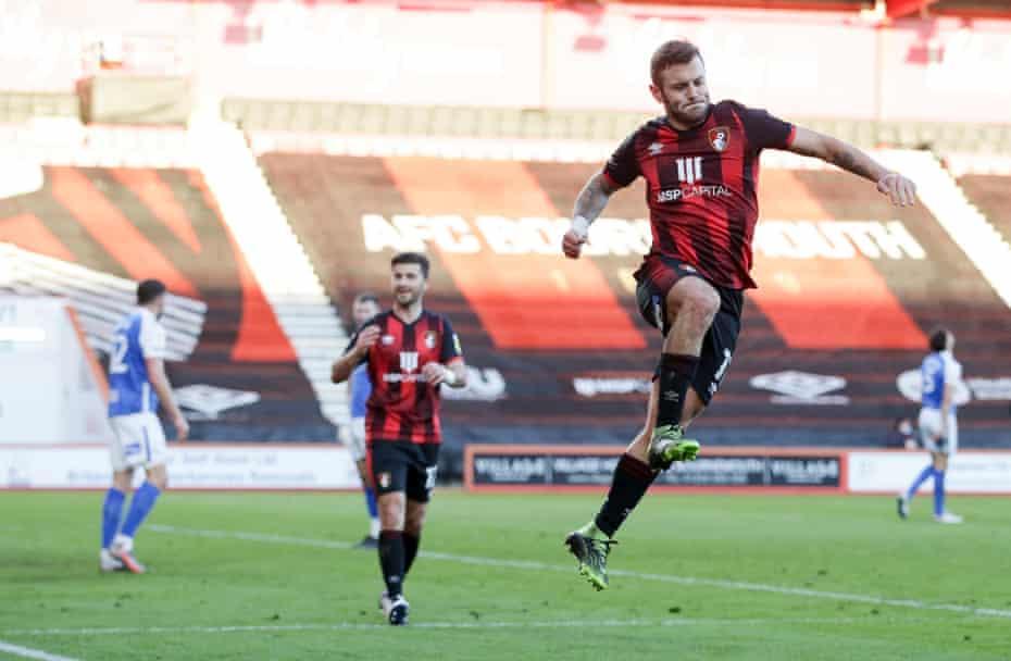 jack wilshere, geçen ay bournemouth için attığı golün ardından birmingham'ı kutladı.