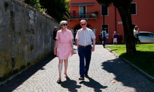 Theresa May and her husband Philip on holiday in Italy.