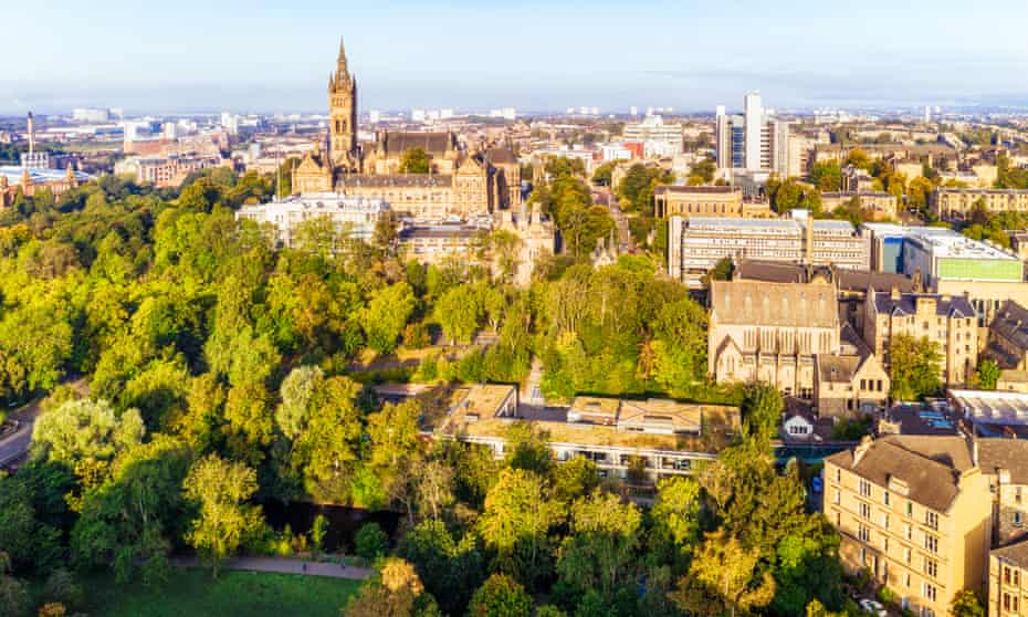An aerial view of Glasgow's West End, including the trees of Kelvingrove park.