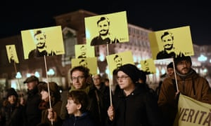 A demonstration in Turin this year marking the fourth anniversary of the disappearance of Giulio Regeni