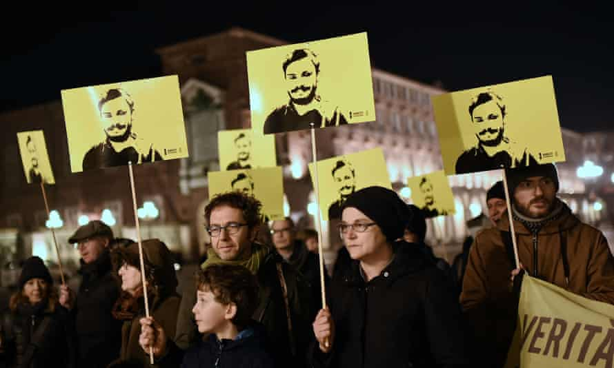 People in Turin mark the fourth anniversary of the Giulio Regeni's disappearance. The 28-year-old's body was later found by the side of a Cairo road bearing signs of torture.