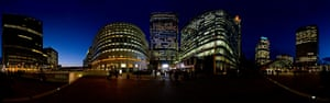 Canary Wharf, as captured by photographer John Law, an Associate of the Royal Photographic Society.