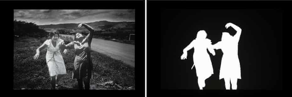 Composite: a photograph by Koen Wessing from Nicaragua, left, is blown into a silhouette in Alfredo Jaar's Shadows, 2014.