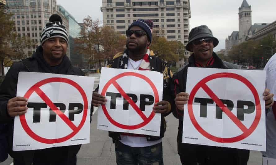 Anti-TPP protesters in Washington