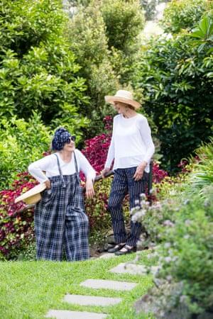 Wendy Whiteley and Janet Hawley in the Secret Garden.