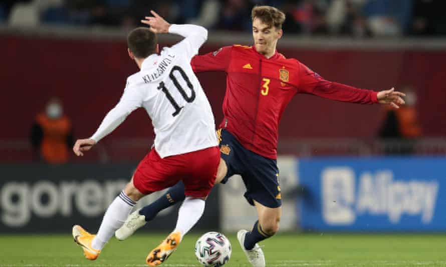 Diego Llorente in World Cup qualifying action for Spain against Georgia.