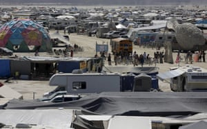 A view of the campsites in the dust