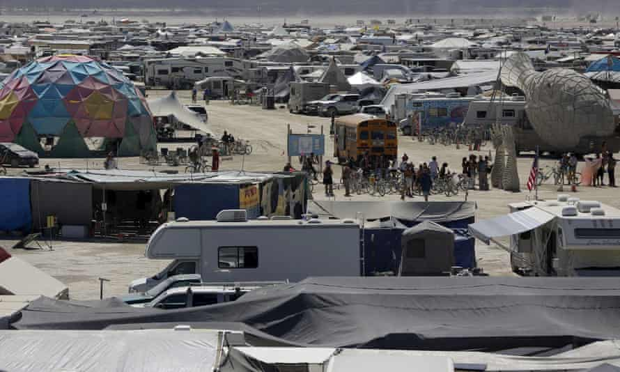 Camps are packed in tightly during the Burning Man arts and music festival in 2015.