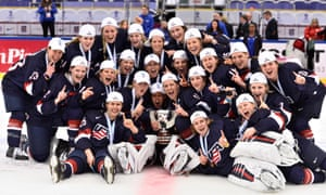 USA's players pose with the trophy after winning the world championships in Sweden two years ago.