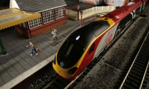 A Virgin Pendolino model train at the Hornby visitor centre