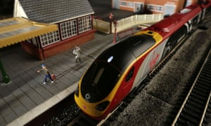 A toy Virgin Pendolino train at the Hornby visitor centre. With less than model punctuality, Virgin estimates it will pay out three times as much under the new system.