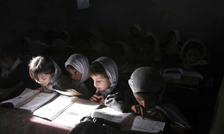 Afghan schoolgirls in Kabul, Afghanistan.
