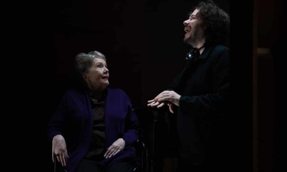 Diana Rigg and director Edgar Wright on the set of their film Last Night in Soho